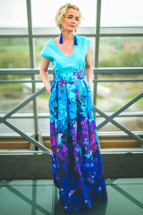 Turquoise Skirt, Summer Skirt, Elegant Skirt, Ball Skirt, High Waist Skirt, Fashion Skirt, Print Skirt, Trendy Skirt, Ocean Skirt
