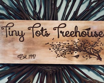 Wooden carved sign, Treehouse Cabin decor, Lake House Sign, custom Carved Plaque, Personalized Sign, Christmas gift ideas, Benchmark Signs