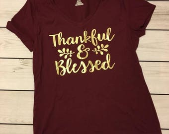 Thankful and Blessed Women's V-Neck Tee