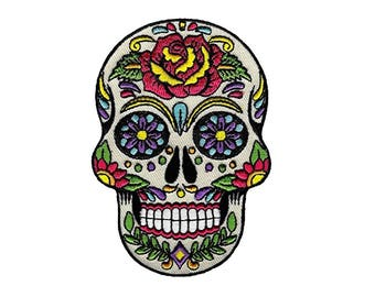 "3.5"" Floral day of the dead SUGAR SKULL Embroidered Iron on patch"