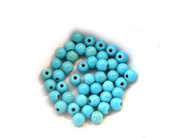 25 Turquoise Magnesite 6mm Beads