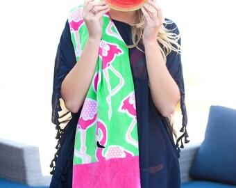 Monogrammed Beach Towel-Flamingo Beach Towel-Flamingle Beach Towel-Vacation-Beach-Spring Break-Monogram Gifts-Beach Towel-FlamingoTowel