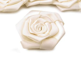 3 big 5 cm ivory satin flower