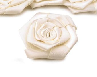 3 big 5 cm ivory satin flower