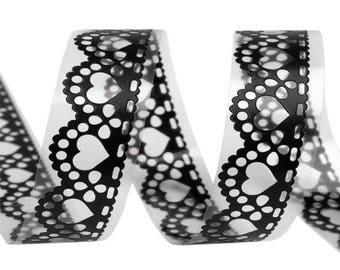 Masking tape tape adhesive 18 mm black lace pattern