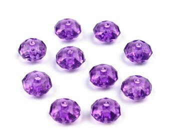 lot 5 x 8 mm faceted clear purple Crystal beads