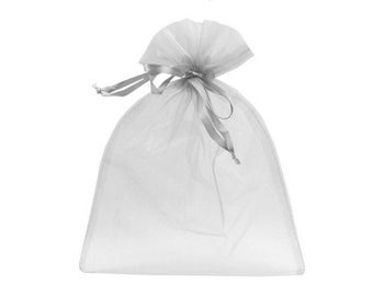 3 bag silver grey organza 22 x 29 cm packaging