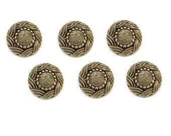 6 buttons 15 mm antique gold gilt