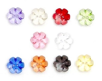 10 transparent flowers buttons 13mm