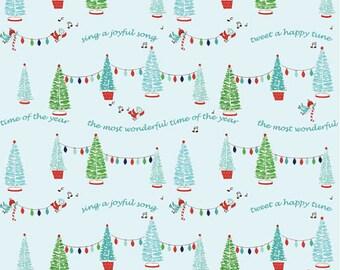 PIXIE NOEL by Tasha Noel ~ Fabric ~ Pixie Trees in Aqua ~ Christmas ~ Birds ~ Lights ~ Holiday ~ Yardage ~ Merry Christmas ~ Christmas Trees
