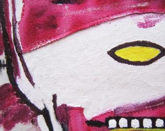 Basquiat home gift birthday graduation gift urban sculpture art decorative pillow graffiti pop art mask pink red New York art unisex gift