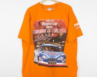 vintage orange nascar t shirt - turn up the heat - xl