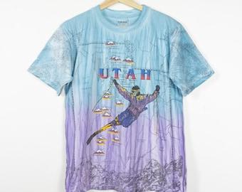 vintage utah state skiing all over print shirt - tie dye - 90s - ski