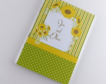 Engagment Photo Album Anniversary Wedding Country Rustic Sunflower Green Yellow Bridal Shower Gift 4x6 or 5x7 698