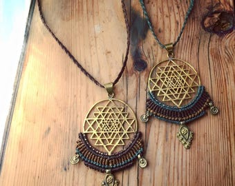 Mandala NECKLACE  Pendent Sri Yantra necklace flower of life necklace brass Bohemian primitive macrame mandala TRIBAL handmade necklace
