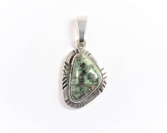 Vintage Southwestern Sterling Green Turquoise Pendant