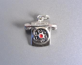 Vintage Sterling Dial Telephone Charm with Enamel I Love U