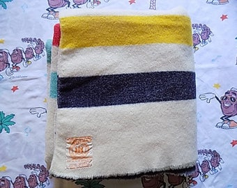 Vintage Hudson Bay Four Point Wool Blanket, Made In England