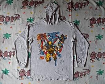 Vintage 90's X-Men cartoon Hooded Long Sleeved T shirt, size Medium 1993 Marvel Comics