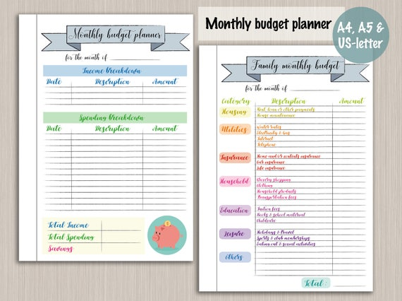 Budget Planner Printable Template   Digital PDF Bujo Bullet Journal Pages    Monthly Budget Plan Template Budget Planner Printable