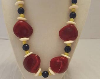 Red, Yellow, and Blue Necklace Beach Necklace Summer Necklace Statement Necklace One Of A Kind Necklace Vacation Necklace SByourself Gift