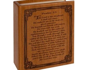 Mahogany Bible Psalm 23 Wood Cremation Urn