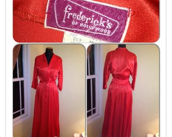 1960s Frederick's of Hollywood Dressing Gown in Cherry Red Satin