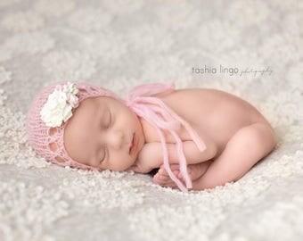 Newborn bonnet, mohair bonnet, pink bonnet, baby bonnet, baby girl bonnet, newborn photo props, newborn girl props