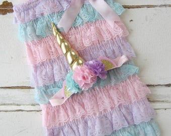 Unicorn outfit, unicorn birthday, unicorn party, unicorn romper, pastel rainbow, unicorn cake smash, unicorn smash cake, unicorn headband