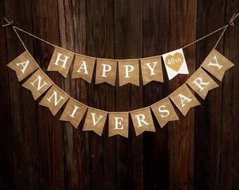 HAPPY ANNIVERSARY Burlap Banner, Anniversary Decoration, Burlap Bunting, Rustic Anniversary Decor, Photo Prop, Anniversary Garland