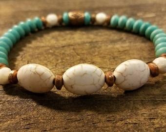 Boho Bracelet, Beaded Bracelet, Gemstone Bracelet, Turquoise Bracelet