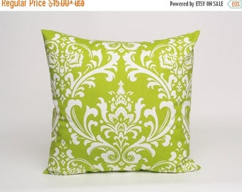 ON SALE Chartreuse Green And White Damask Pillow Cover Designed To Fit 14 16