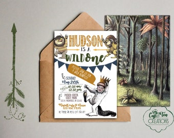 Where the Wild Things Are  Invitation, Wild One Birthday Invitation, First Birthday Invitation,  Let the Wild Rumpus Start, Digital Download