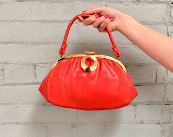 1960s red patent handbag / 60s cherry red purse / 1960s red pocketbook / 60s top handle vinyl purse