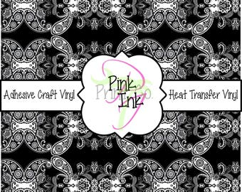 Beautiful Black and White Paisley Patterned Craft Vinyl and Heat Transfer Vinyl Pattern 254
