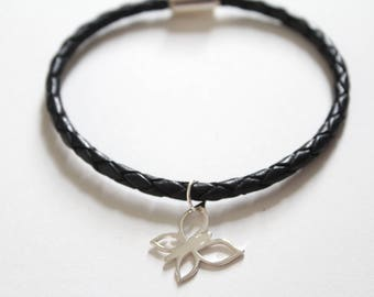 Leather Bracelet with Sterling Silver Butterfly Charm, Butterfly Bracelet, Butterfly Charm Bracelet, Butterfly Pendant Bracelet, Butterfly