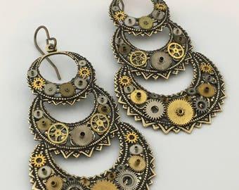 Brass Triple Crescent Steampunk Gear earrings by Victorian Folly