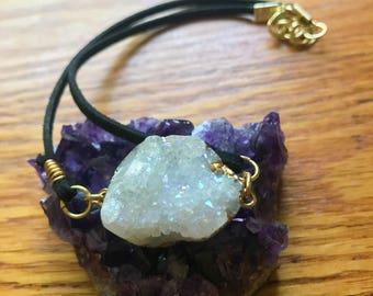Angel Aura Quartz Crystal Cluster Choker Necklace || Vegan Suede || Handmade Jewelry