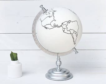 Hand Painted Globe, Painted Globe, Guestbook Globe, Hand Lettered, Guest Book Globe