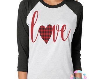 Valentine's Shirt, Buffalo Plaid Valentine's Shirt, Women's Valentine's, Love Shirt, Valentine's Shirt for Women, Buffalo Plaid Shirt