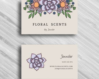 Vector Succulent - Custom Business Card - Add your own Logo - Branding