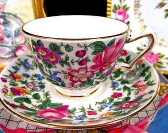 Crown Staffordshire Chintz Tea Cup and Saucer Flowered Teacup