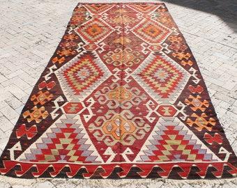 Turkish Kilim Rug 67''x157'' Hand Woven Sivrihisar Kilim 172x400cm