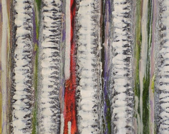 Absratct, original, Encaustic painting study of woods