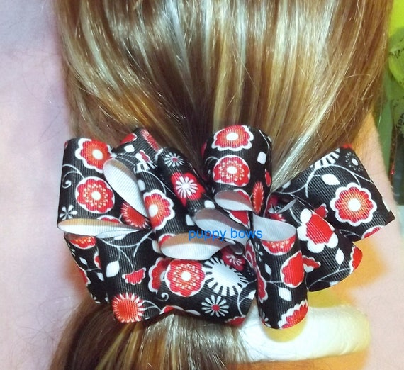 Becky Bows ~OOAK Barrette Hand crafted huge ribbon BIG hair bow Women or Girls giant red black white floral