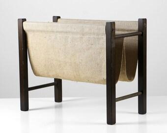 60s magazine rack, Danish magazine rack, linen magazine rack, Mid Century furniture, Danish design