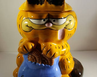 Vintage Garfield Cookie Jar Hand Painted Vintage 1984 Cookie Jar Garfield