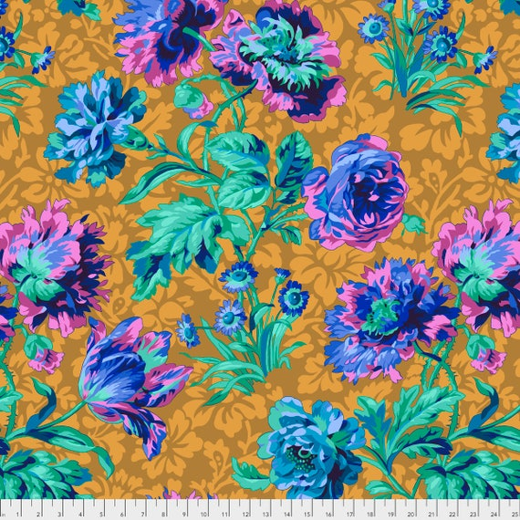 Pre-Order BAROQUE FLORAL Blue Philip Jacobs PWPJ090.BLUEX Kaffe Fassett Collective Sold in 1/2 yd increments Pre-Order Item