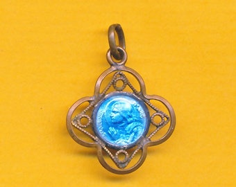 Antique blue enamel Religious Charm Medal Pendant Sainte Jeanne d'Arc - St Joan of Arc - St Jane of Arc - St Therese of Lisieux (ref 1265)