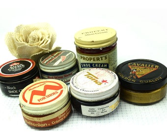 6 Vintage Shoe Polish Jars with Great Advertising Graphics